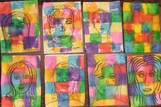 Self-Portrait Art for kids inspired by Paul Klee Kindergarten Art, Preschool Art, Paul Klee Art, Tissue Paper Art, 4th Grade Art, Ecole Art, School Art Projects, Art Lessons Elementary, Art Classroom