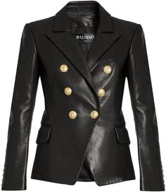 BALMAIN Six-button double-breasted leather jacket