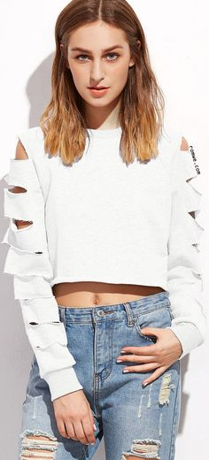 White Ladder Cut Out Sleeve Raw Hem Sweatshirt