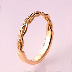 Braided Ring No.4 - 14K Rose Gold Stackable Ring , Wedding Band , 14K Gold Ring , rose gold , celtic ring, wedding band, mens band