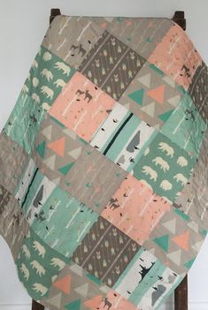 Baby Quilt Birch Deer Forest Woodland Birch Trees Mod by CoolSpool