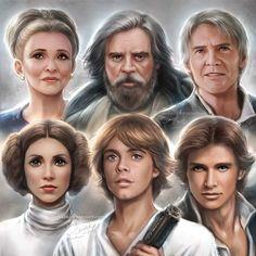 Beautiful Star Wars Fan Art #starwars #fanart #leiaorgana #Lukeskywalker @hansolo