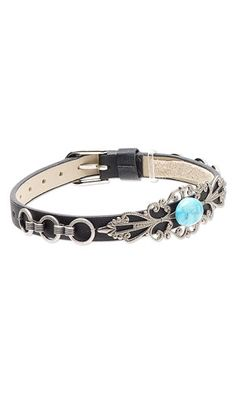 Bracelet with Turquoise Gemstone Cabochon, Antiqued Silver-Finished Brass Toe Ring and Antiqued Silver-Plated Brass Chain - Fire Mountain Gems and Beads