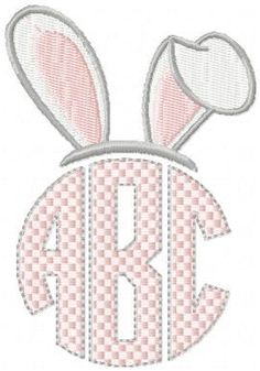 Machine embroidery Design - Easter Bunny Ear Monogram Topper comes in sizes to fit 2, 2.5, 3, 3.5 and 4 inch letters by BlingSassSparkle on Etsy https://www.etsy.com/listing/263515126/machine-embroidery-design-easter-bunny