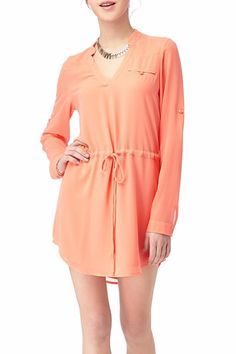 Love this adjustable waist fit! Fits your perfect style. Dress this shirt dress up or down with sneakers, flats or your favorite sandals! Falls above the knee and slightly higher on the sides.   Drawstring Shirt Dress by Sassy & Chic. Clothing - Dresses California