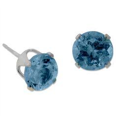 Sterling Silver 2TGW London Blue Topaz Stud Earrings #earrings #topaz #jewelry