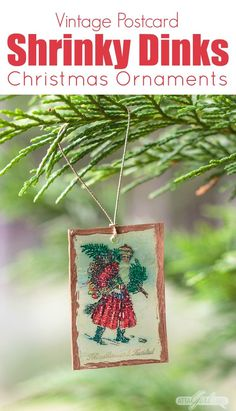create stunning shrinky dinks christmas ornaments using artwork from vintage postcards learn how to make