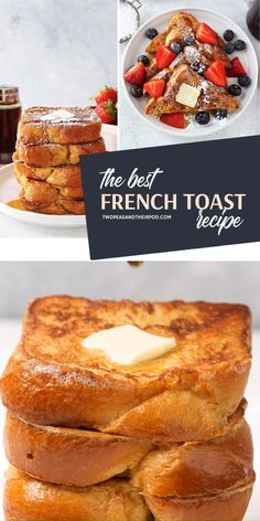 Dec 2019 - The Best French Toast Recipe to make at home! This easy holiday breakfast idea for the family is light and fluffy best when served with butter, maple syrup, and powdered sugar. Save this quick breakfast morning breakfast or brunch for later! Best Breakfast Recipes, Sweet Breakfast, Breakfast Dishes, Brunch Recipes, Dessert Recipes, Breakfast Toast, Brunch Ideas, Healthy Morning Breakfast, Quick Easy Breakfast