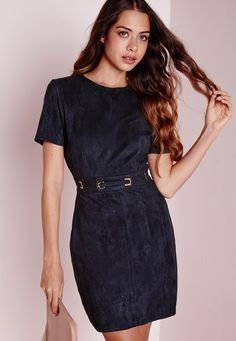 Missguided - Faux Suede Lace Up Waist Shift Dress Navy