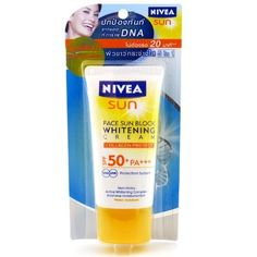 Nivea Sun Face Sun Block Whitening Cream SPF 50 Facial Sunscreen 50ml by NIVEA. $28.00. Advance Collagen Protect, SHIPPED FROM THAILAND...; Active Whitening complex; Naturally collagen in the deeper layers of the skin is well protected even within moments of application.; No more 20 minutes wait for your sunscreen product to take effect; Immediate UVA/UVB. THE RESULT : - A fair and radiant looking skin with an active whitening care.   IMPORTANT USAGE INSTRUCTIONS :...
