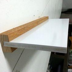 Floating Wall Desk, Floating Shelves Diy, Wood Shelves, Shelving, Diy Furniture, Furniture Design, Diy Holz, Shelf Design, Wood Design