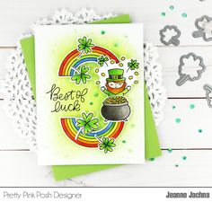 A Kept Life: Fusion Card Challenge - Best of Luck! Copic Marker Refills, Fusion Card, St Patricks Day Cards, Pretty Pink Posh, Rainbow Cupcakes, St Pattys, Distress Ink, Good Luck, Card Making
