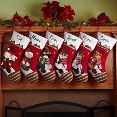 A Personal Creations Exclusive! Our fanciful felt stocking has a green-and-red striped toe with a matching cuff draped in snow. Choose from an array of beloved winter characters: Santa, Mrs. Claus, Snowman, Moose, Bear, Penguin, Cat or Dog.