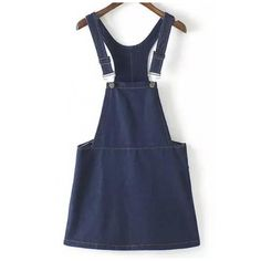 Dark Blue Plain Loose Denim Short Overall Dress (1,585 PHP) ❤ liked on Polyvore featuring dresses, deep blue dress, cut loose dresses, loose fit dress, loose fitted dresses and denim dresses