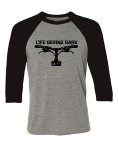 542f5150a56 Mountain Bike T-shirt Baseball style tee Life by SpokeNwheelz Fixie