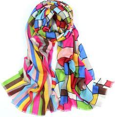 women-100-wool-scarf-72x24-Long-Shawl-Wrap-Large-pashmina-blue-red-yellow-W297
