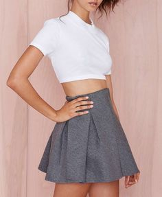 High Waist Pure Color Skirt - Skirts - Bottoms - Clothing