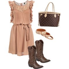 cute dress with cowboy boots :)