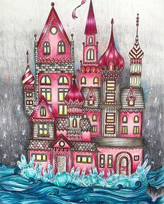 Ice castle at night  #summernightscoloringbook #hannakarlzon #coloringforadults #prismacolor #coloredpencils #whitegelpen