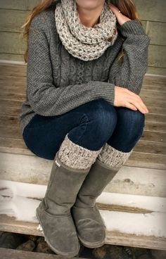 Wire Knit Sweater With Long boots and Scarf - cozy look!