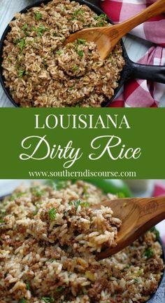 Southern Recipes Louisiana Dirty Rice – a southern discourse Creole Recipes, Cajun Recipes, Healthy Recipes, Soul Food Recipes, Steak Recipes, Salmon Recipes, Soul Food Meals, Chicken Liver Recipes, Kale Recipes