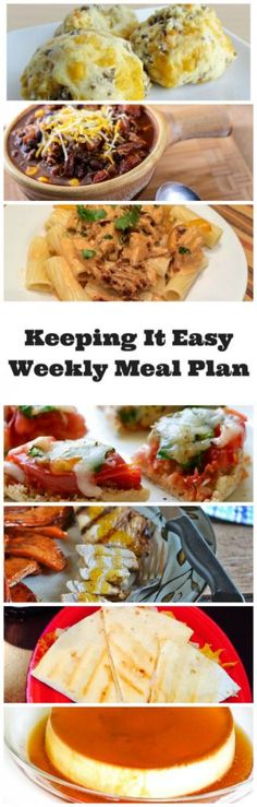 Easy Weekly Meal Plan #23 from My Fearless Kitchen. This week's meal plan includes Freezer-Friendly Sausage Puffs, Crock Pot Mexican Beer Chili, Creamy Chicken Pasta with Chipotle Sauce, Mini Spinach and Tomato Wheat Pizzas, Grilled Orange-Marinated Turkey Breast, Barbecue Chicken Quesadillas, and Coconut Flan.