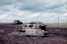 A knocked out Russian T-34 tank near Belgorod (1943)
