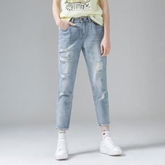 Nice Fashion fashion jeans Women Ankle-Length Straight Ripped  Jeans...