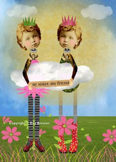 Altered art collage sisters whimsy prints twins blue yellow pink flowers original