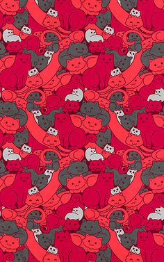 """Purrrfect Pattern (Red)"" by helenasia 