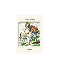 The Heron / Le Héron -  Vintage illustration from Jean de La Fontaine's Fables for Children