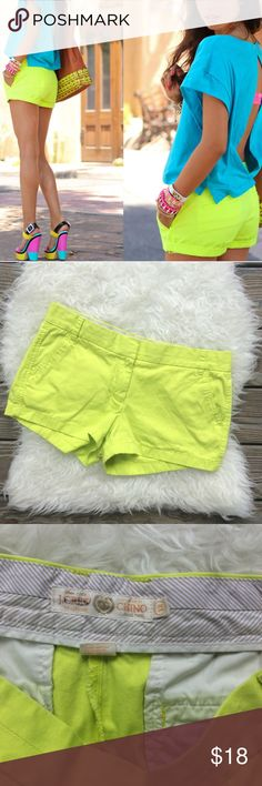 "J. Crew Neon Yellow Broken In Chino Shorts Excellent condition J. Crew neon yellow broken in chino shorts. Size 12. Waistband 33"", rise 9.5"", inseam 3"". 100% cotton. No trades, offers welcome. J. Crew Shorts"