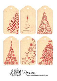 Etiquettes de Noël rouge