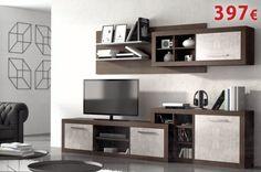 Composción de salón disponible en Ceniza-plata / Wengué-plata / Ceniza-negro. Tv Cabinets, Flat Screen, Appliances, Furniture, Ideas, Dining Rooms, Budget, Black, Home