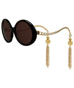 House of Harlow 1960 Sasha sunglasses in black with gold chain arms & tassels embellishments