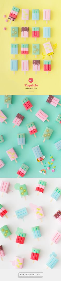 DIY Popsicle Favor Boxes by AMY MOSS / oh happy day. Cute kawaii gift boxes to make cheer a friend up today retro lolly ice Soap Packaging, Pretty Packaging, Packaging Design, Packaging Boxes, Do It Yourself Inspiration, Creative Inspiration, Style Inspiration, Origami Box, Design Poster