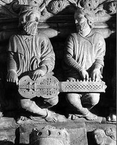 Elders playing an organistrum Santiago de Compostela, Galicia Sculpture Art, Sculptures, Free Standing Sculpture, Hurdy Gurdy, Romanesque Art, Medieval Music, New Inventions, Middle Ages, Musical Instruments