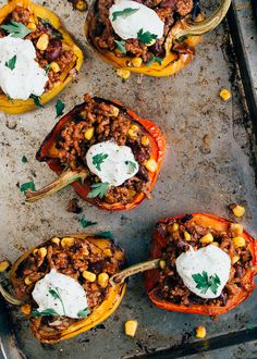 Stuffed peppers with minced meat - From Pauline's kitchen - WDF Low Carb Low Calorie, Food Inspiration, Love Food, Cravings, Food And Drink, Tasty, Lunch, Stuffed Peppers, Healthy Recipes