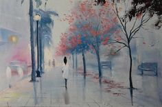 Christina Nguyen Waiting for the Summer Gray Oil Painting