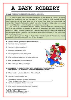 The first part is a reading and the second one is a listening -an interview with a witness to spot mistakes in the reading above-. Keys, script and audio link included on: http:& - ESL worksheets Reading Comprehension Activities, Reading Worksheets, Reading Passages, Printable Worksheets, Comprehension Strategies, Teaching English Grammar, English Grammar Worksheets, English Vocabulary, English Reading