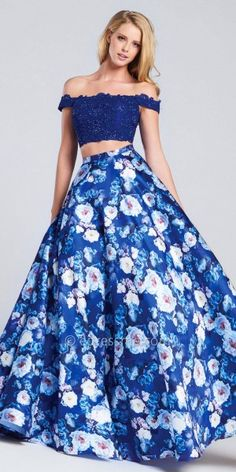 Off The Shoulder Two Piece Floral Ball Gown by Ellie Wilde for Mon Cheri