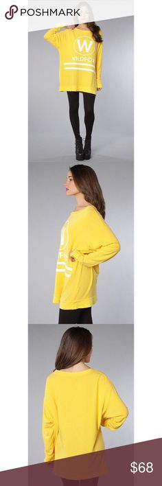 Wildfox Cruise Roadtrip Sweater in Canary Yellow-S Excellent perfect condition! No damage or wear and only worn previously a few times. Super comfy oversized sweater that fits almost dress like that is literally so amazing you'll never want to change (I have it in grey also lol) - moving this weekend and open to offers!!! Everything must go!!!!! Wildfox Tops Sweatshirts & Hoodies