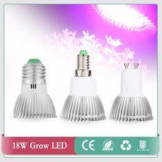 18W Led Grow Light AC85-265V E27 E14 GU10 Red/Blue 18 Leds Hydroponic LED Plant Indor Grow Lights LED Bulb LED Growth Lamp #Affiliate
