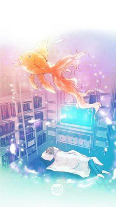 Untouchable webtoon  Goldfish dying broke my heart. Ack.