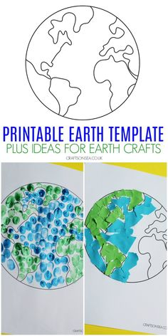 Make some easy Earth Day crafts with your kids using this free printable Earth template Earth Craft, Earth Day Crafts, World Crafts, Nature Crafts, Kids Crafts, Recycled Crafts Kids, Recycled Art, Yarn Crafts, Printable Crafts