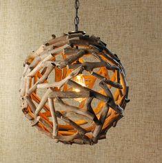 Driftwood Ball Pendant Light - contemporary - pendant lighting - Shades of Light
