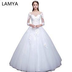 0d1d80d01e24 Lamya πραγματική φωτογραφία Princess Κομψά φορέματα γάμου με μακρύ μανίκι  δαντέλα Υψηλής ποιότητας φόρεμα φόρεμα νυφικό