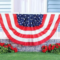 Our 6ft Americana flag bunting features stars on a blue background in the center surrounded by red and white stripes. Place it on your porch, deck or fence for a festive look!⠀ (Item #39138)
