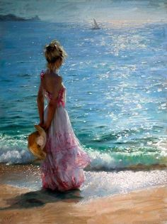 painting of woman on the beach - Google Search