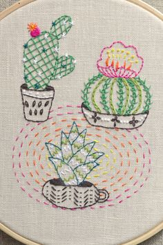 Cactus embroidery, Modern Hand embroidery patterns, boho décor, plants, Prickly Pear, diy gifts by NaiveNeedle
